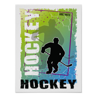 Abstract Hockey Player Blue and Green Poster