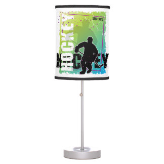 Abstract Hockey Player Blue and Green Table Lamp