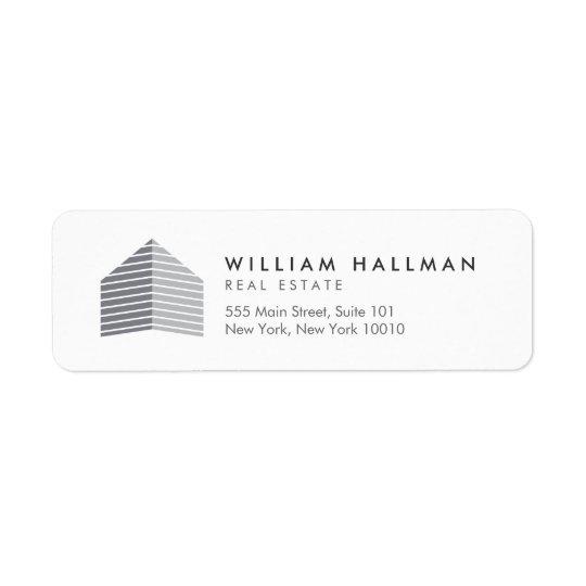Abstract Home Logo Grey/White Return Address Label