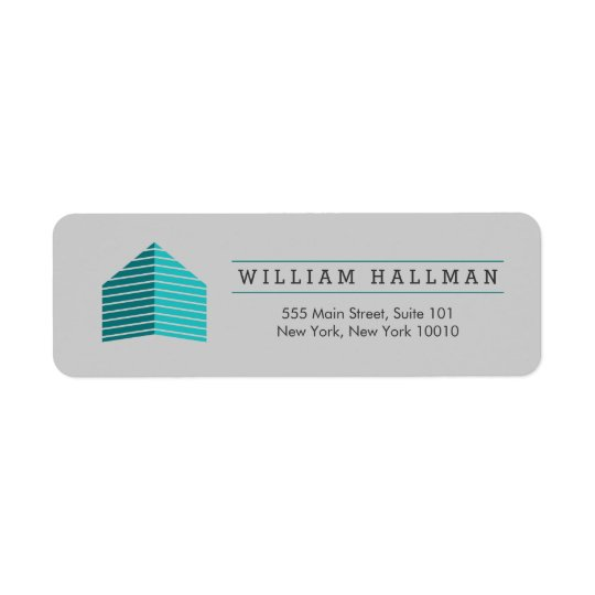 Abstract Home Logo Teal/Grey Return Address Label