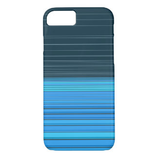 Abstract horizontal linework, deep and light blue iPhone 7 case