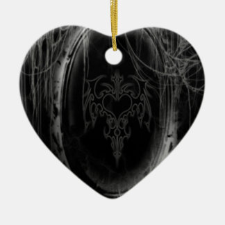 Abstract Horror Black Mirror Ceramic Heart Ornament