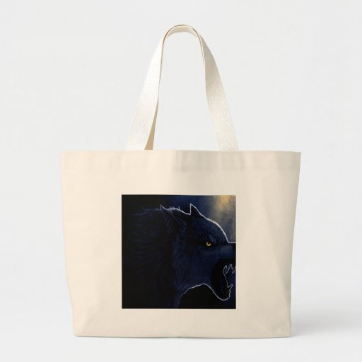 Abstract Horror Dark Wolf Silhouette Canvas Bags