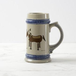Abstract Horse Stein 18 Oz Beer Stein