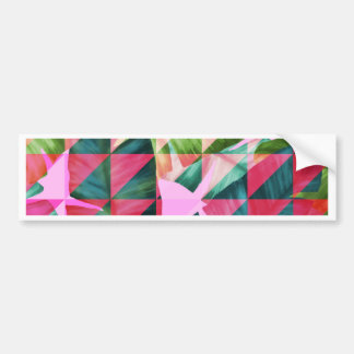 Abstract Hot Pink Banana Leaves Design Bumper Sticker