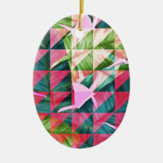 Abstract Hot Pink Banana Leaves Design Ceramic Oval Ornament
