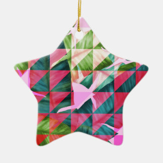 Abstract Hot Pink Banana Leaves Design Ceramic Star Ornament