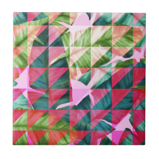 Abstract Hot Pink Banana Leaves Design Ceramic Tiles