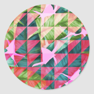 Abstract Hot Pink Banana Leaves Design Classic Round Sticker