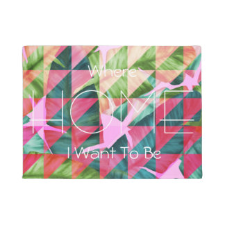 Abstract Hot Pink Banana Leaves Design Doormat