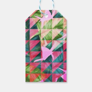 Abstract Hot Pink Banana Leaves Design Gift Tags