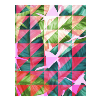 Abstract Hot Pink Banana Leaves Design Letterhead Template
