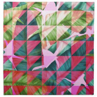 Abstract Hot Pink Banana Leaves Design Napkin