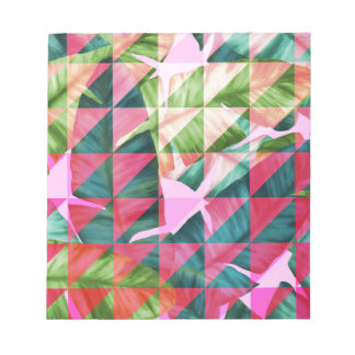 Abstract Hot Pink Banana Leaves Design Notepad