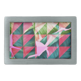 Abstract Hot Pink Banana Leaves Design Rectangular Belt Buckles