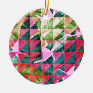 Abstract Hot Pink Banana Leaves Design Round Ceramic Ornament