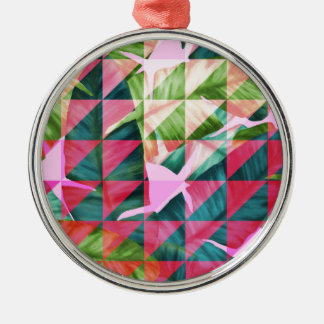 Abstract Hot Pink Banana Leaves Design Silver-Colored Round Ornament