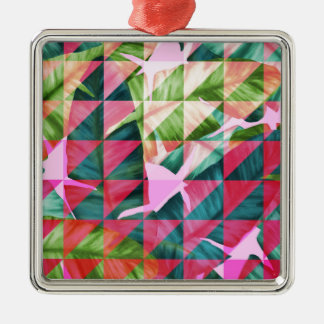 Abstract Hot Pink Banana Leaves Design Silver-Colored Square Ornament