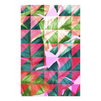 Abstract Hot Pink Banana Leaves Design Stationery