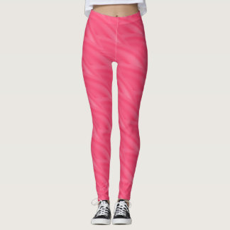 Abstract Hot Pink Curly Wave Pattern Leggings