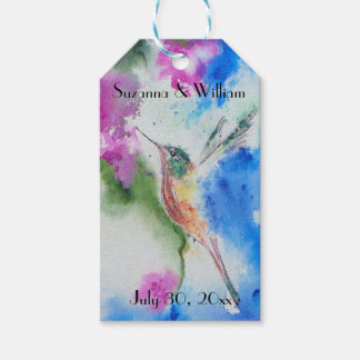 Abstract Hummingbird Floral Wedding Gift Tags