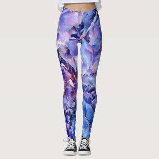 Abstract Hydrangea Flowers Yoga Pants Running