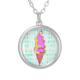 Abstract Ice Cream Silver Plated Necklace