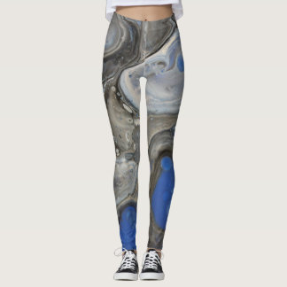 Abstract Icy Blue Leggings