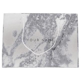Abstract ilver Gray Blush Marble Metallic Gift Large Gift Bag