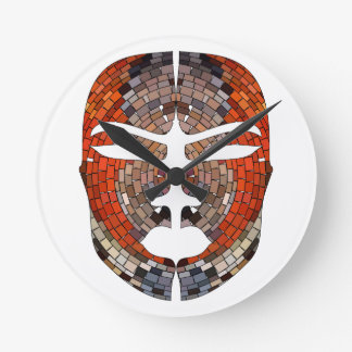 Abstract imitation of African mask Round Clock