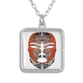 Abstract imitation of African mask Silver Plated Necklace