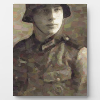 Abstract impressionist painting of A Young Soldier Plaque
