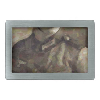 Abstract impressionist painting of A Young Soldier Rectangular Belt Buckle