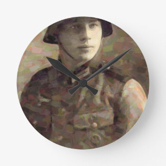 Abstract impressionist painting of A Young Soldier Round Clock