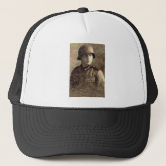 Abstract impressionist painting of A Young Soldier Trucker Hat