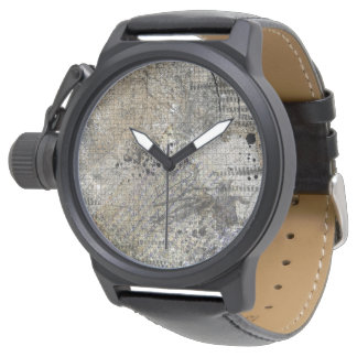 ABSTRACT IN BLACK AND TAN WATCH