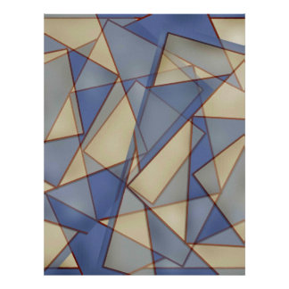 Abstract In Blues Poster
