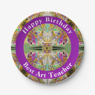 Abstract in Jewel Colors with Your Words Paper Plate