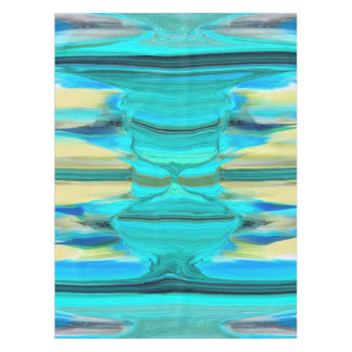 Abstract in Shades of Green, Blue and Yellow Tablecloth