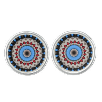 Abstract in turquoise and red cufflinks