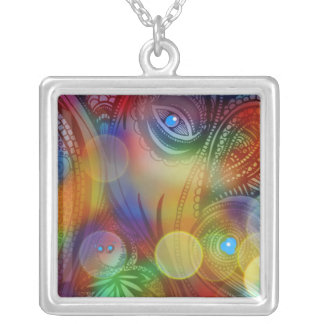 """""""ABSTRACT IN VIVID COLORS LARGE NECKLACE"""" SQUARE PENDANT NECKLACE"""