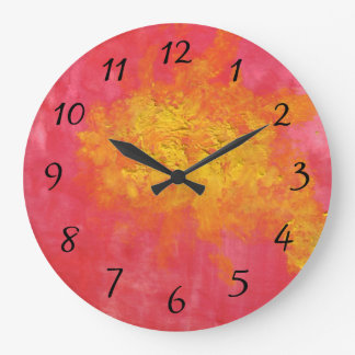 Abstract in Yellow and Red Surreal Splash of Sun Wallclock