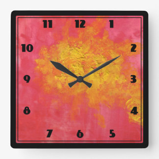 Abstract in Yellow and Red Surreal Splash of Sun Wallclocks