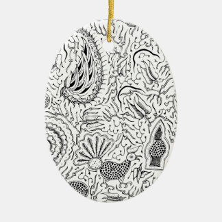 Abstract Indonesian Textile with Birds Ceramic Oval Ornament