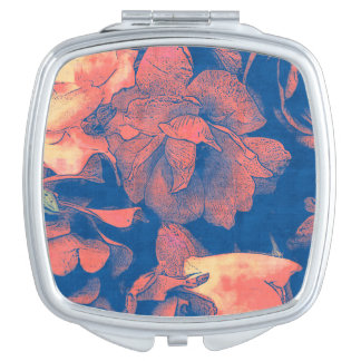 Abstract Ink blue peach roses boho Mirror For Makeup