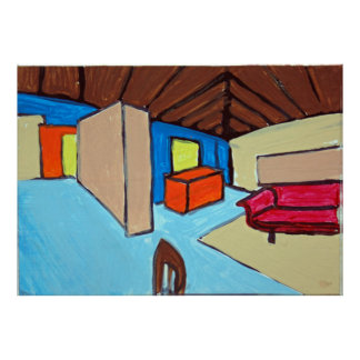 abstract interior with red couch poster