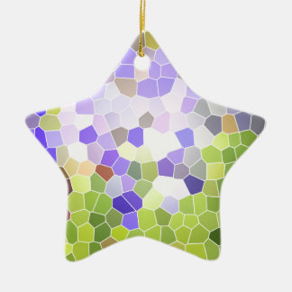 Abstract Iris Stained Glass Flower Violet Mosaic Ceramic Star Ornament