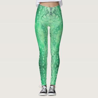 Abstract jewel green malachite leggings