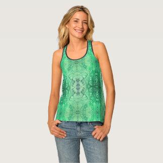 Abstract jewel tone green malachite tank top