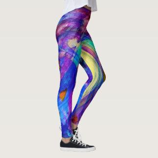 Abstract jewel-toned leggings